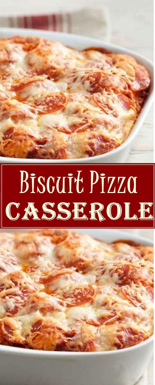 Biscuit Pizza Casserole #pizzarecipes