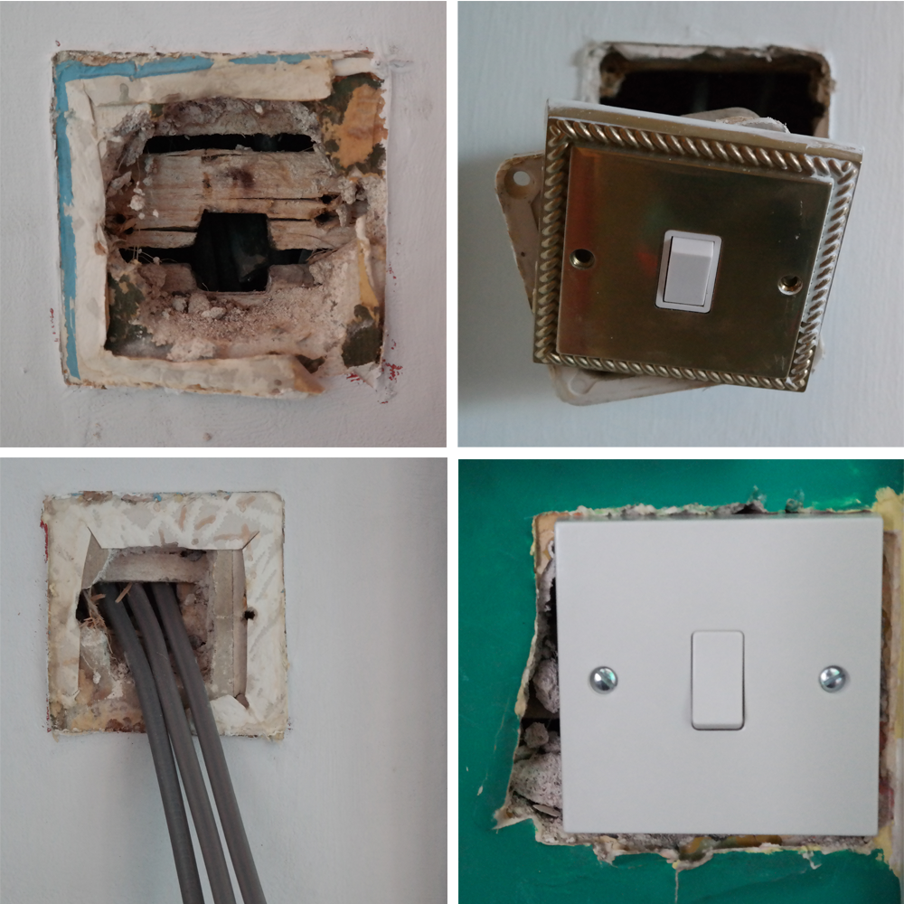 Four stages of a socket rewire