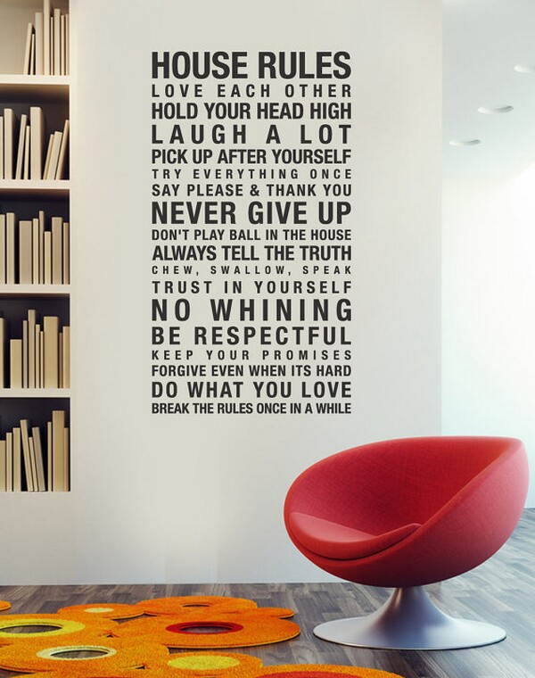 Wall Decal Sticker Art, House Rules