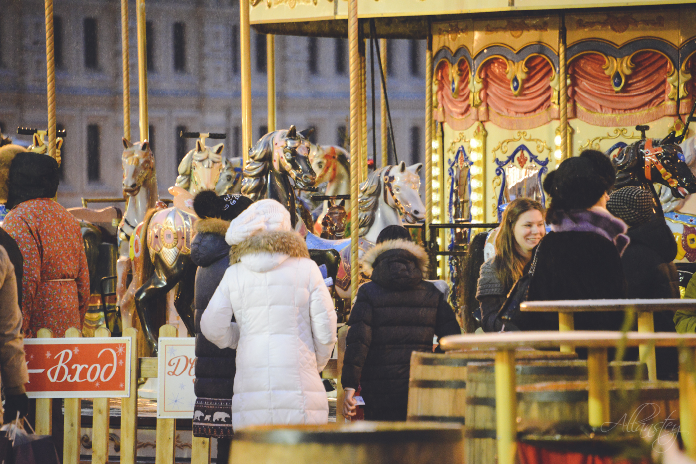 carousel, winter holidays