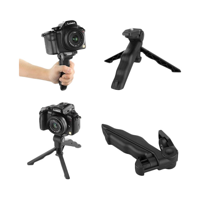 Third Party 2 in 1 Portable Mini Folding Tripod for DSLR - Black
