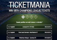 Logo Ticketmania: vinci gratis i biglietti 1x2 per le partire di UEFA Champions League