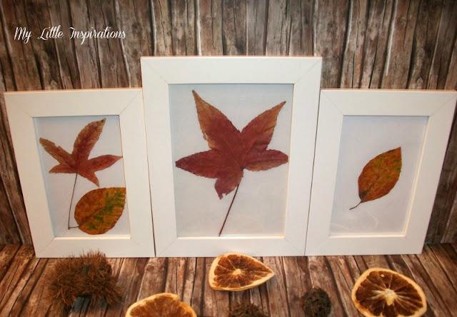 Quadretti con foglie secche d'autunno - dall'alto - My Little Inspirations