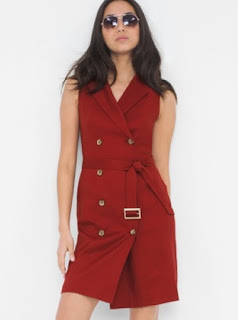 WHBM double breasted trench dress in red with gold buttons and belt