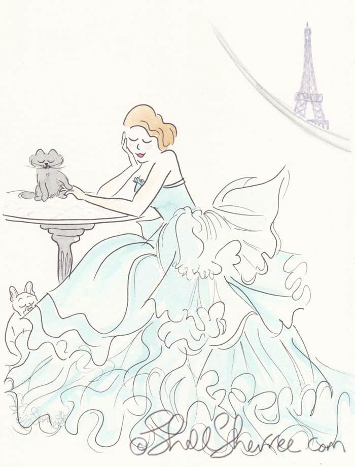 Ruffled Aqua with an Eiffel Tower View Paris illustration, Fashion & Fluffballs © Shell Sherree