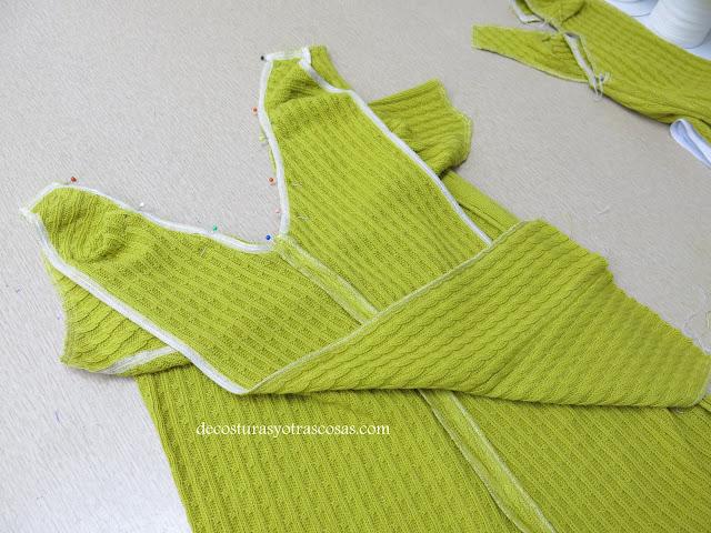 como coser manga ranglan en tejido de punto