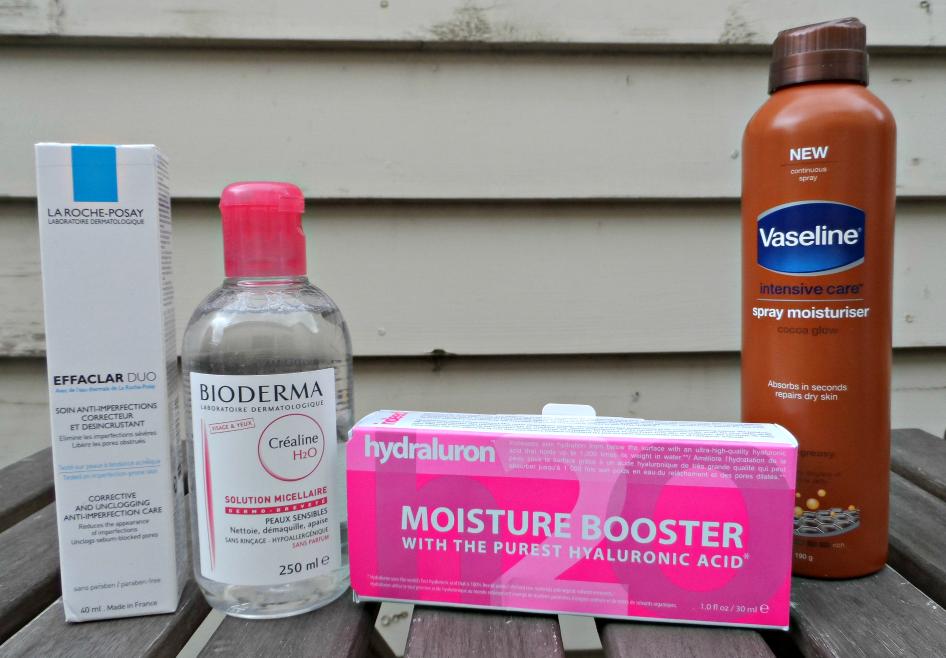 la roche-posay, bioderma, hydraluron, vaseline spray moisturiser