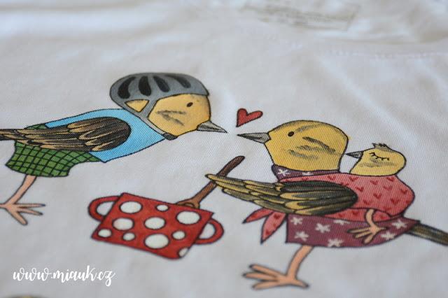 strnadí letka malované tričko miauk