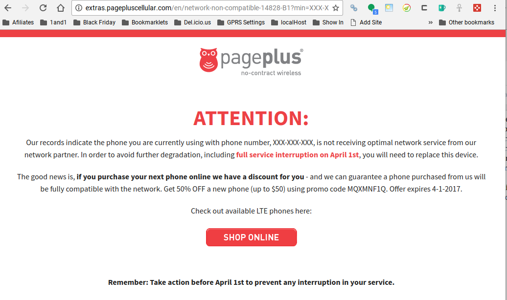 Page Plus Telling Some Customers That They Need to Replace