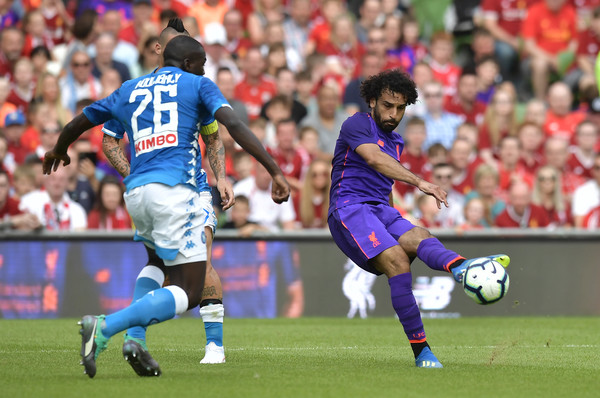 Mohamed Salah of Liverpool has his shot saved during the international friendly game between Liverpool and Napoli at Aviva Stadium on August 4, 2018 in Dublin, Ireland.
