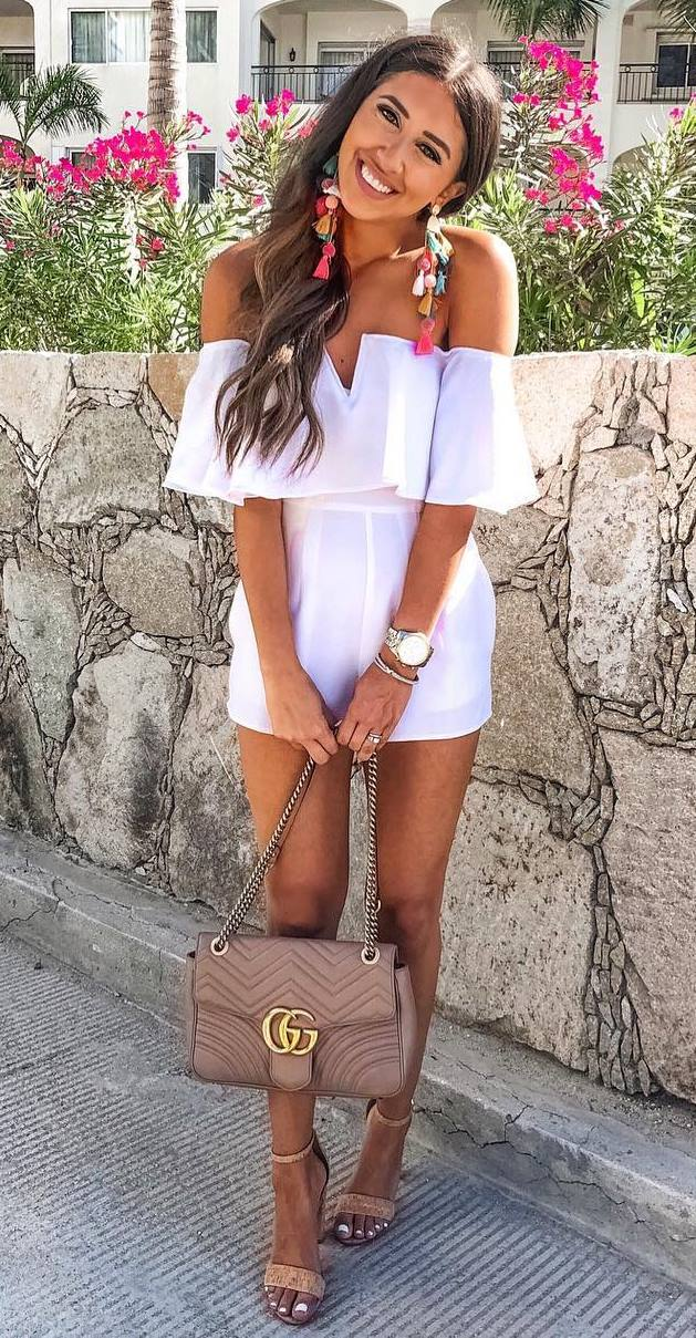 what to wear with a white off shoulder romper : crossbody bag and heels