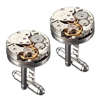 Steampunk mens cufflinks with vintage watch movement