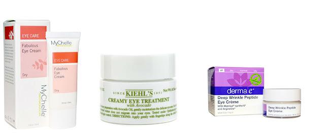 Kiehl's Creamy Eye Treatment with Avocado, пептидний крем навколо очей проти глибоких зморшок від Derma E, Fabulous Eye Cream від MyChelle