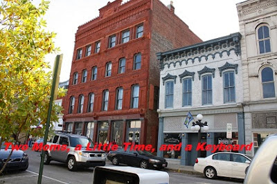 Historic buildings line downtown Frankfort, Kentucky.