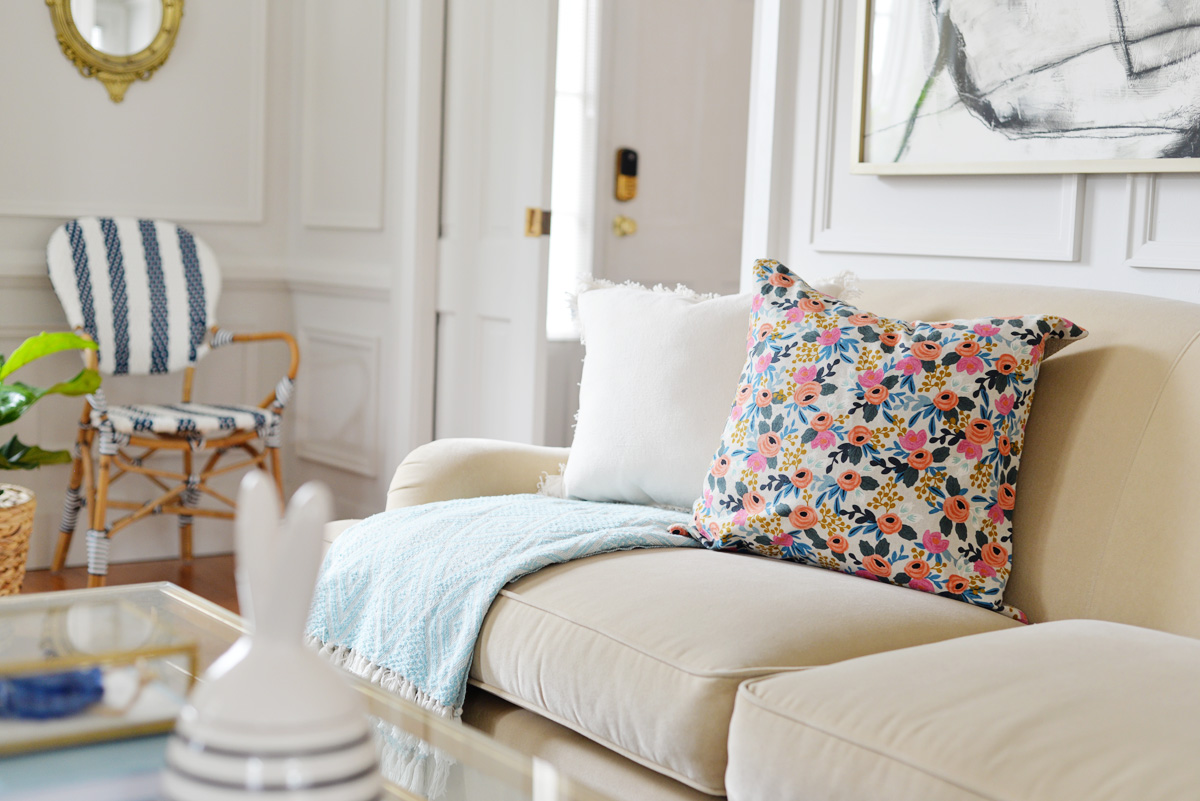 spring decorating, floral pillow, striped bistro chair
