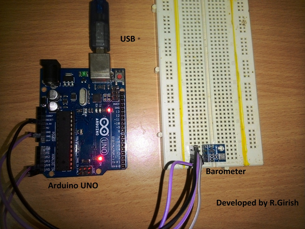 Barometric pressure sensor circuit using arduino