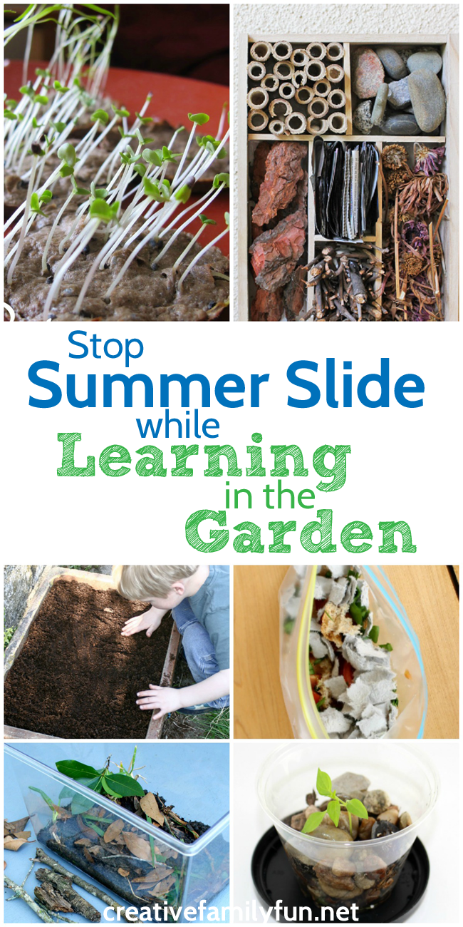 Stop summer slide with some fun and educational learning activities you can do in the garden.