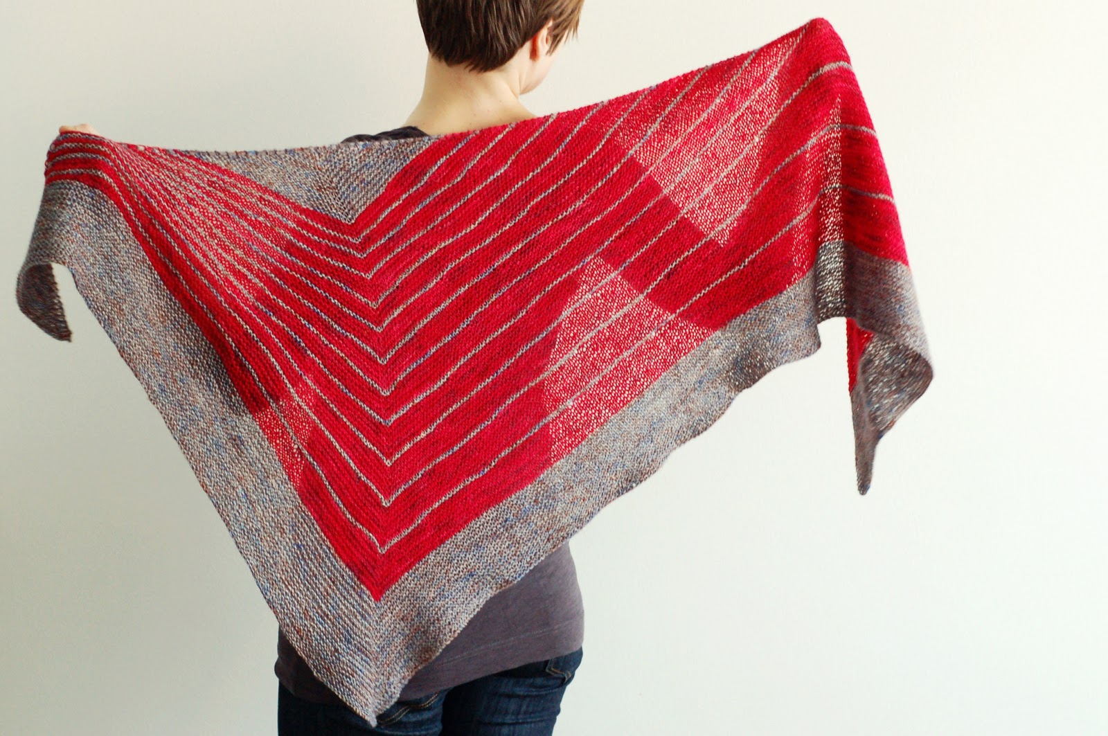 """The Local Yarn Shawl is a boomerang shaped shawl, consisting of simple lace, textured, eyelet and mesh stitches. The pattern is written for two sizes: Small and Large. The small shawl only consists of one color but in a gradient if desired ( yards); while the large shawl uses two contrasting or """"blendy"""" colors ( yards each.)/5(98)."""