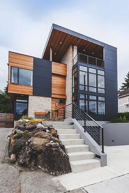 rumah modern dinding kayu