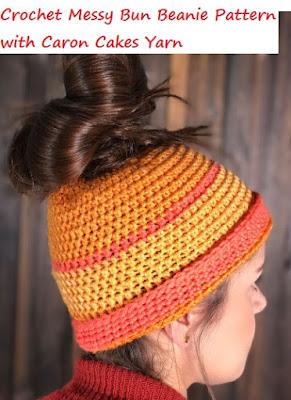 Crochet Caron Cakes Messy Bun Crochet Pattern