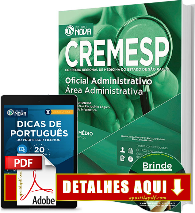 Apostila CREMESP 2016 Oficial Administrativo Impressa