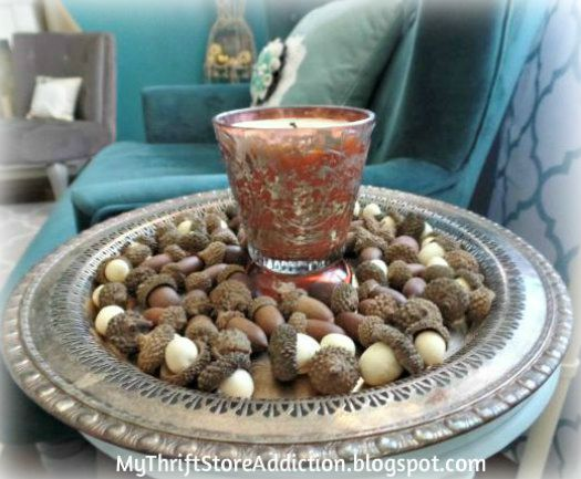 Candle and acorn tray