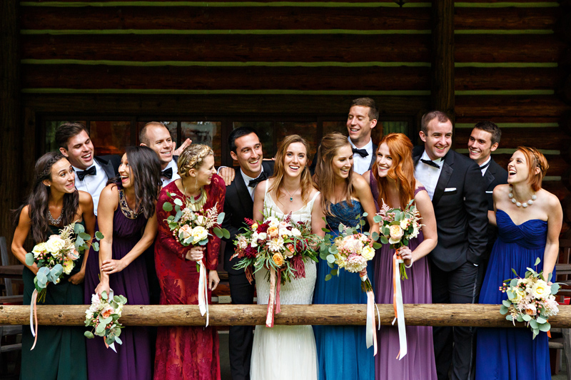 Wedding Party / Photography: Brooke Peterson Photography / Wedding Coordinator: Courtney of 114-West / Venue: Kootenai Lodge, Bigfork Montana / Bride's Bouquet: Mum's Flowers / Bride's Gown: J.Crew / Groom's Tux: J.Crew / Makeup Artist: Britlee of Envy Salon & Spa /