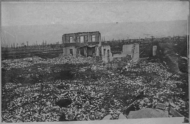 Ammunition depot, on the road near the church Holy Sunday, burned by the Bulgarians during their retreat. Bitola, January 1917