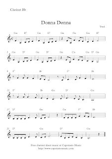 Donna Donna free clarinet sheet music