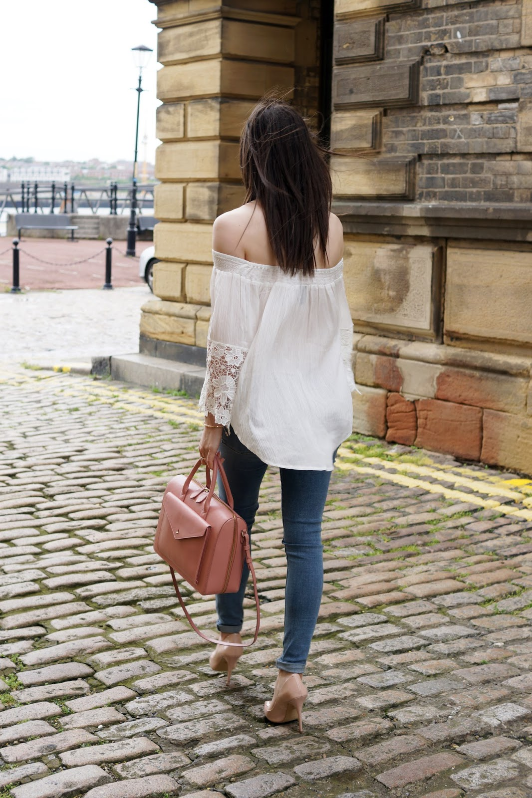 Hello Freckles Bardot Lace Sleeves Casual Outfit South Shields nebloggers Street Style
