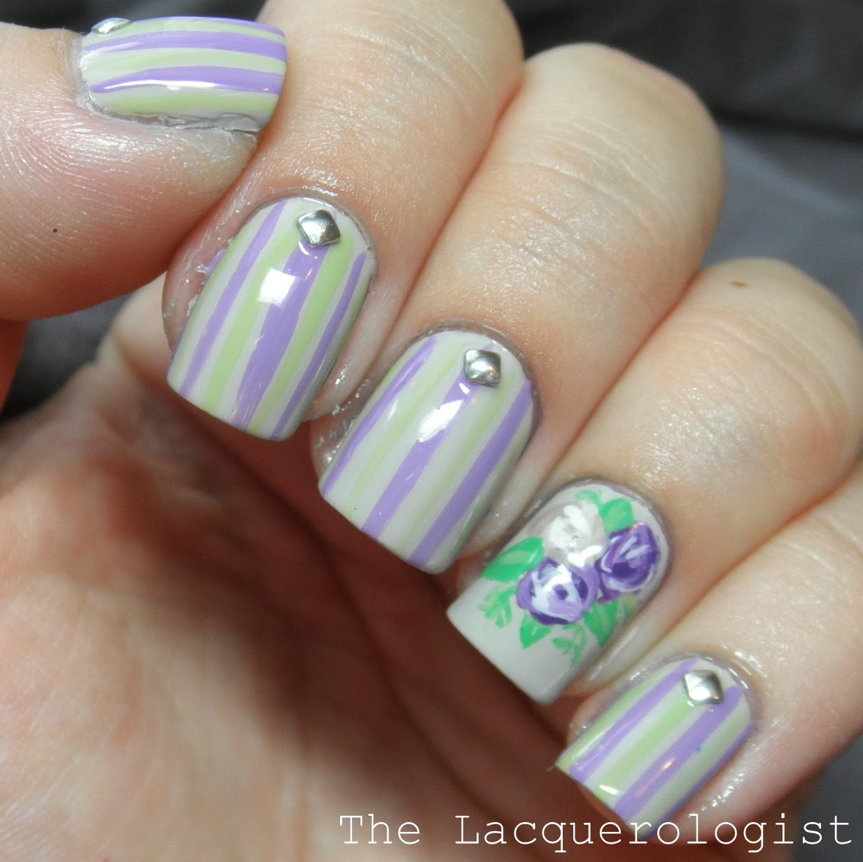 Lavender Roses and Stripes: Wedding Guest Nails! • Casual Contrast