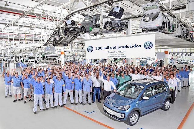 VW Up! no Brasil: 200.000 produzidos; 45.000 exportados
