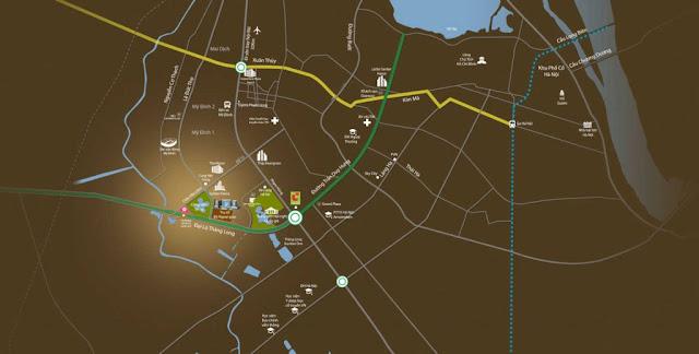 Bản đồ kết nối giao thông từ Mỹ Đình Pearl