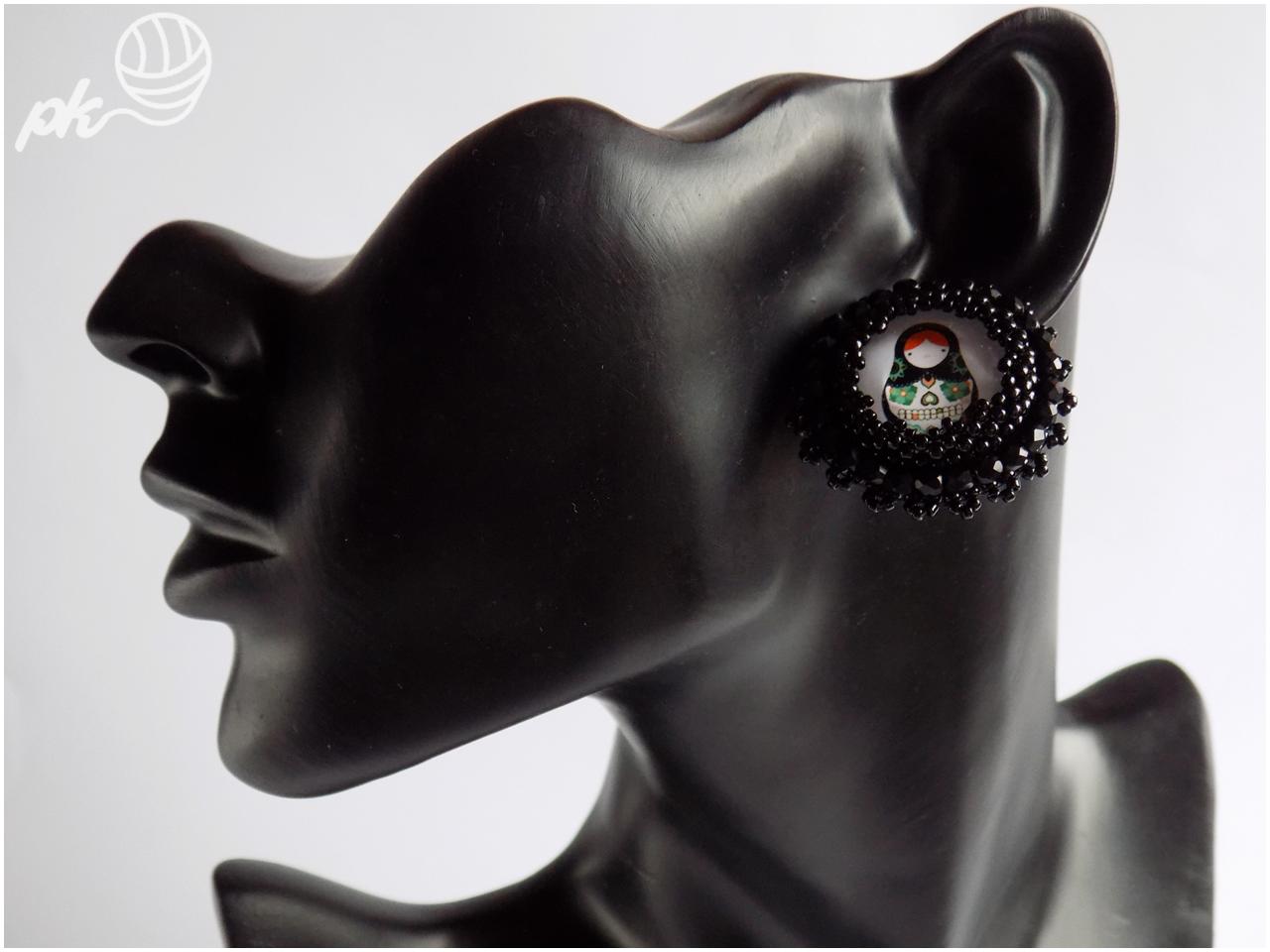 kolczyki, kaboszon, haft koralikowy, handmade, rękodzieło, biżuteria, koraliki toho,