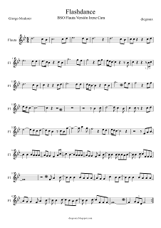 Flashdance Partitura de What a Feeling para Flauta, (Flashdance Flute Score). Podéis tocar la flauta a la vez que el vídeo de Irene Cara.