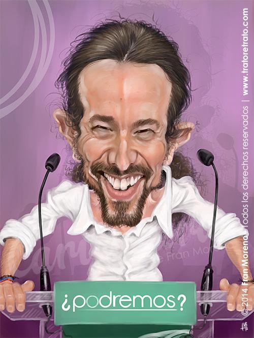 "Caricatura de ""Pablo Iglesias"" por Fran Moreno"