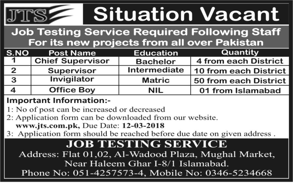 2000 Jobs in Job Testing Service JTS 2018 - Application form Download