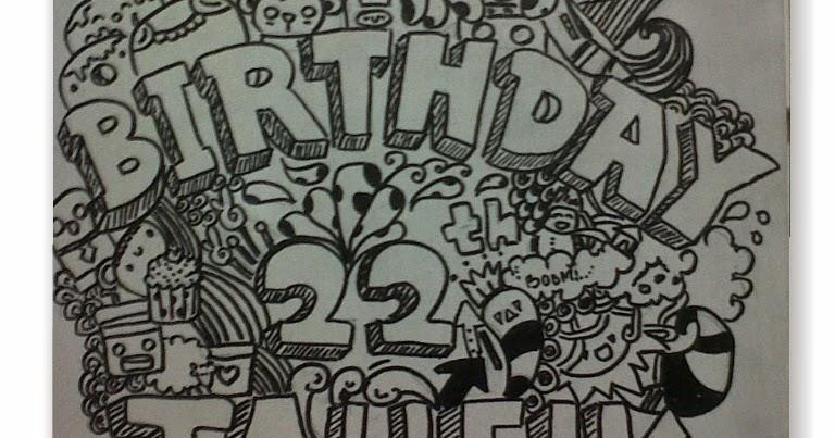 Contoh Gambar Doodle Happy Birthday Keren dan Mudah