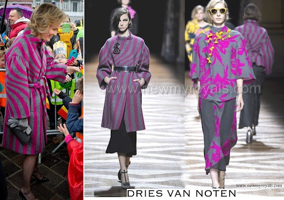 Queen Mathilde wore Dries Van Noten Coat and Dress