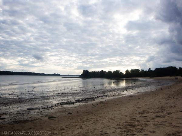 Playa y río, en el Elba, Hamburgo
