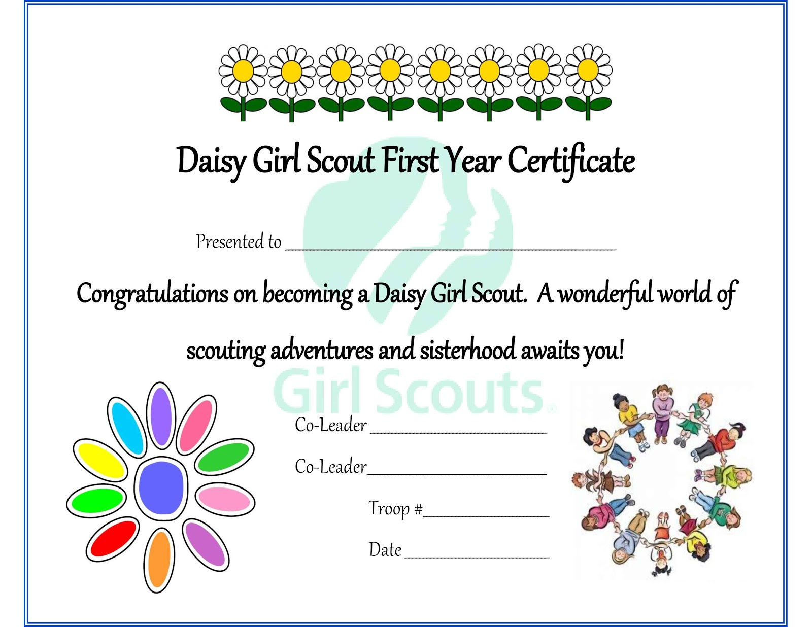 Girl scout daisy investiture certificate free printable for Girl scout calendar template