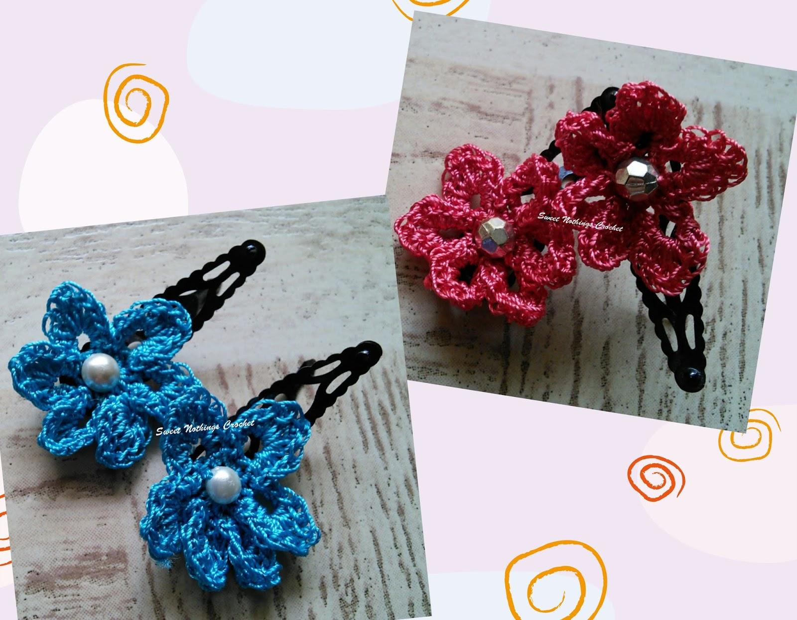 Sweet Nothings Crochet Cute Flower Hair Clips 2