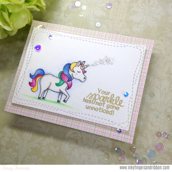 Unicorn Sparkle Card by Guest Designer Tracy Freeman | Believe in Unicorns Stamp Set by Newton's Nook Designs #newtonsnook #handmade