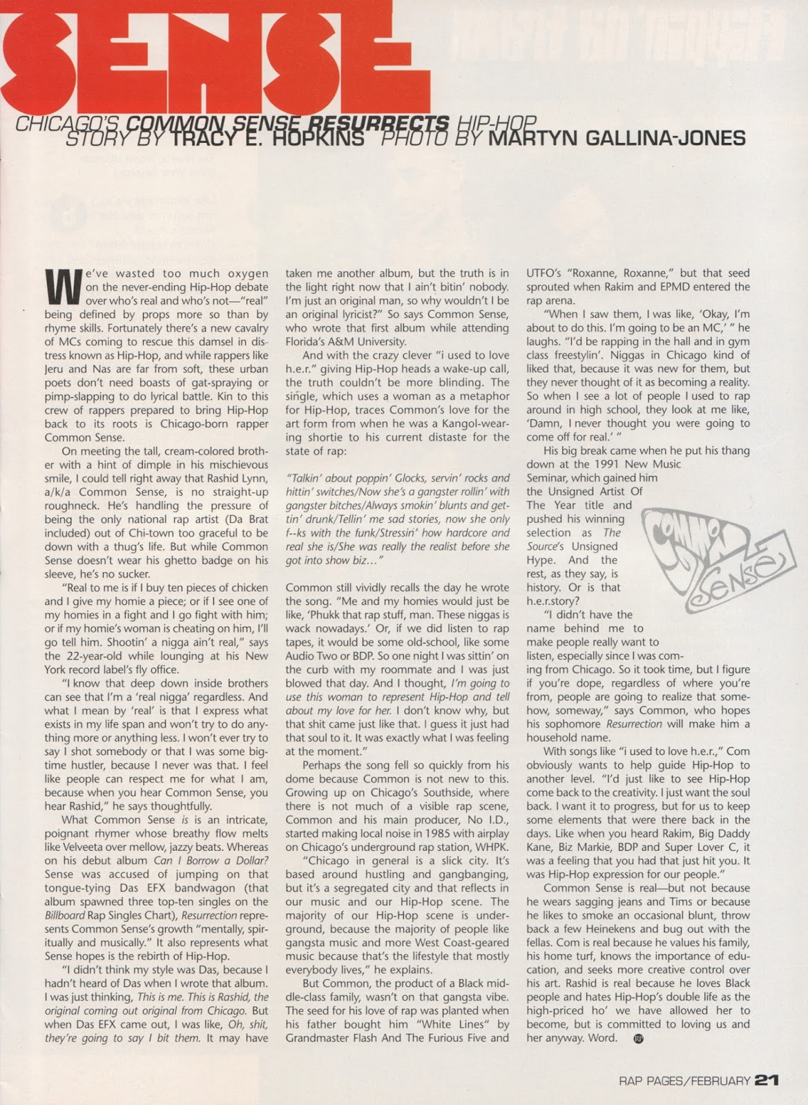 Common (Sense) in Rap Pages (February, 1995) Page 21