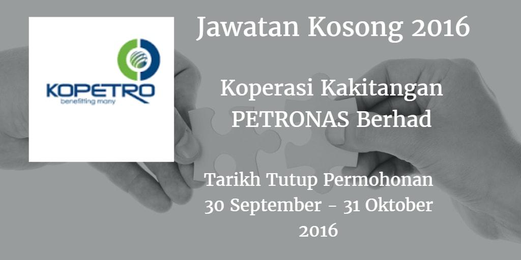 Jawatan Kosong Koperasi Kakitangan PETRONAS Berhad 30 September - 30 Oktober 2016