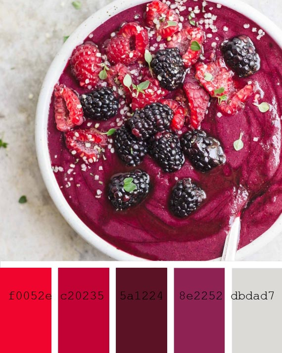 beet and berries smoothie recipe and color palette