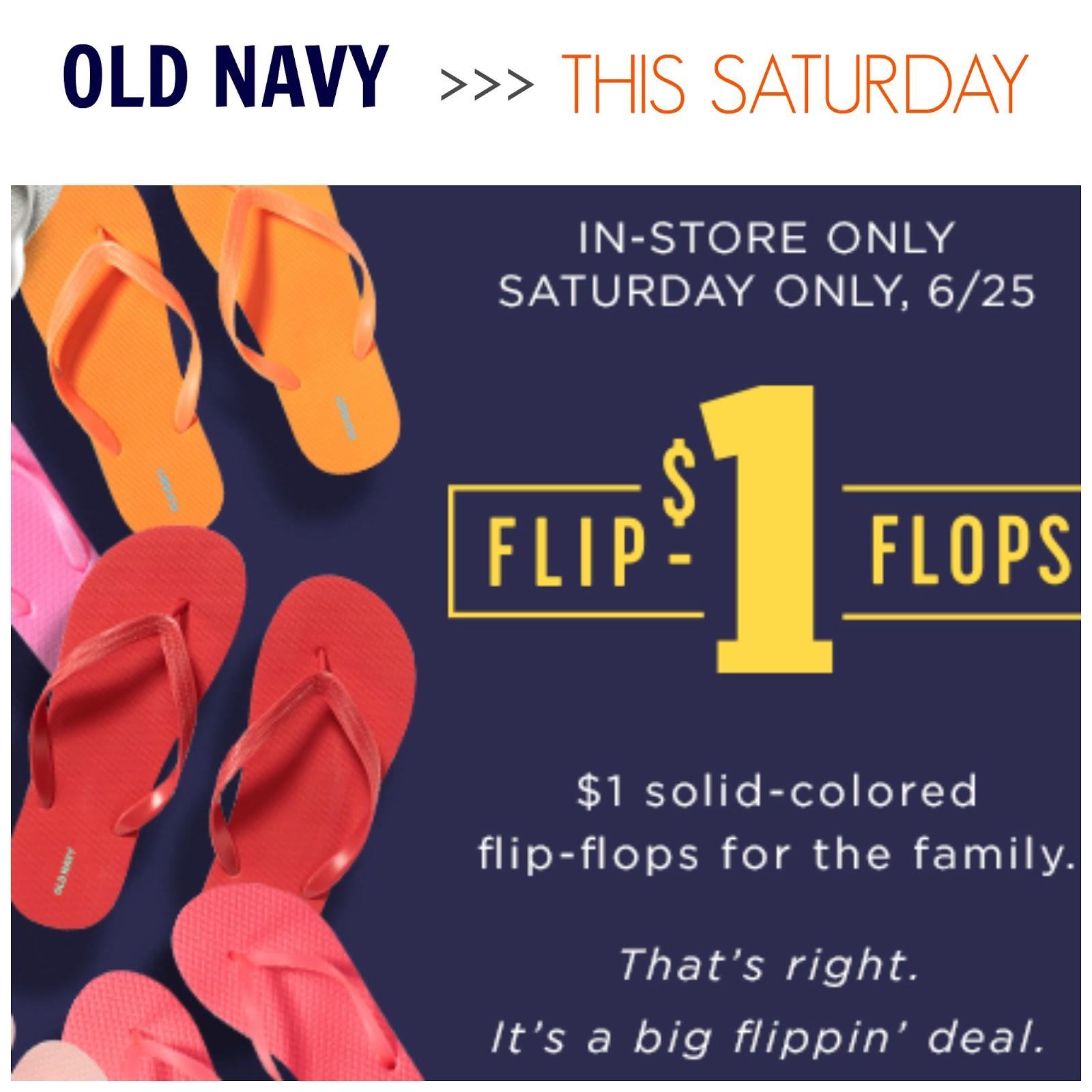 Tracy\'s Notebook of Style: Old Navy $1 Flip Flops: THIS Sat + ...