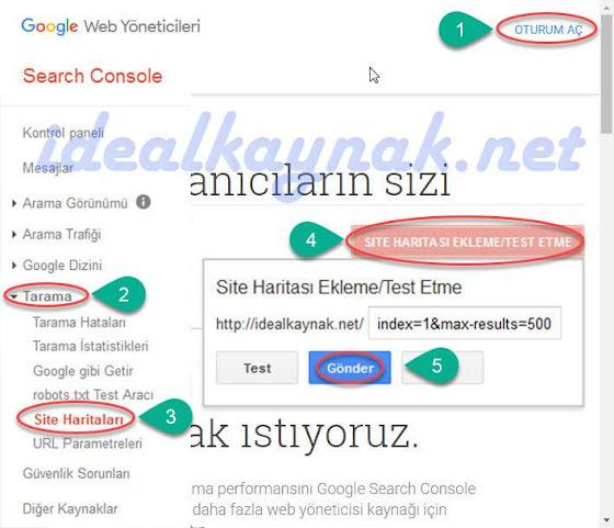 Blogger Sitemap URL - Google'a Site Haritası Göndermek