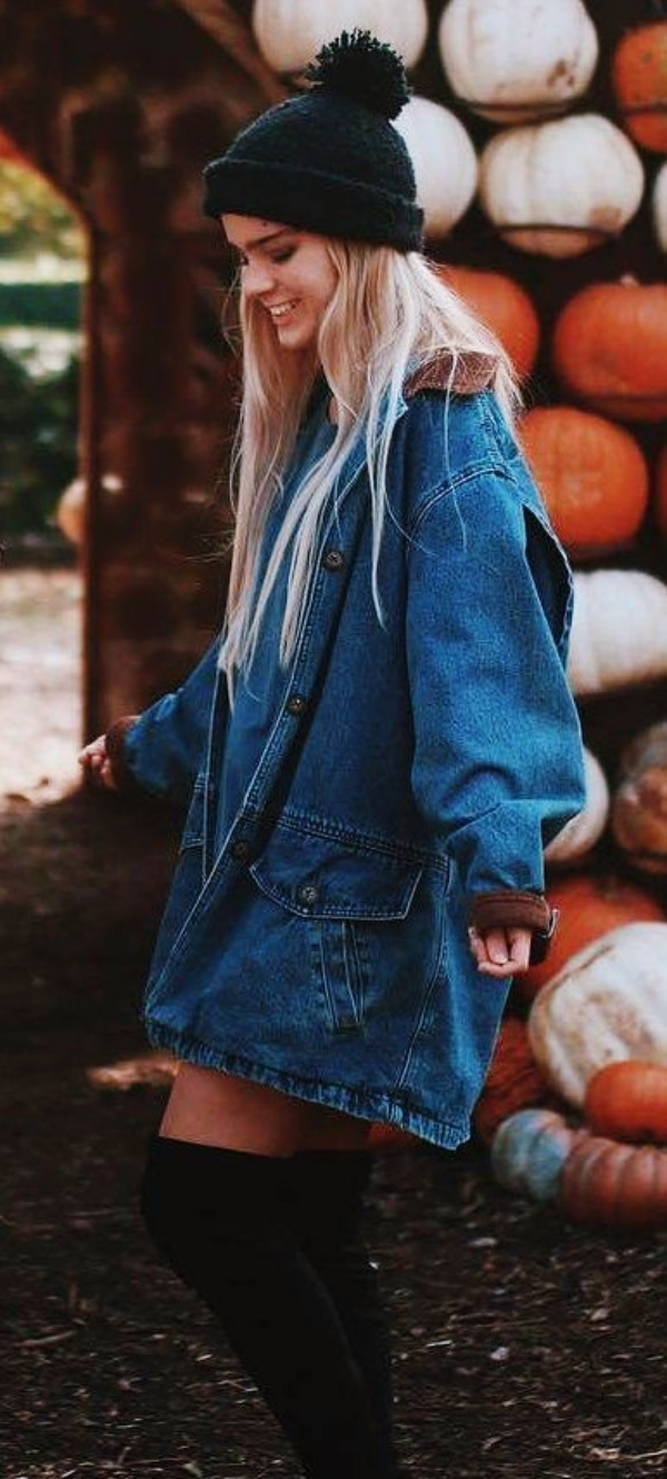 how to style a denim jacket : knit hat + over knee boots