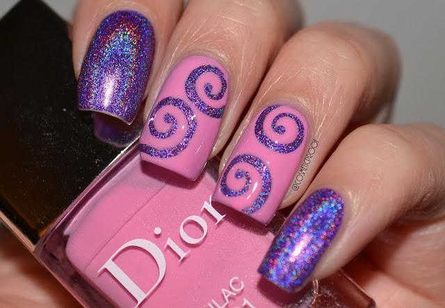 Purple and Pink Holo Nail Art